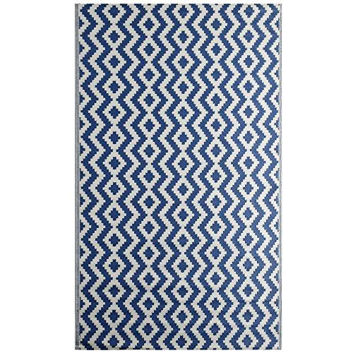 "iCustomRug Oudoor Rug Collection - Aztec Indigo Blue 7'10"" X11'6 Reversible Picnic Beach Area Rug, Perfect Patio, Camping, BBQ & More"