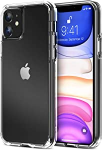 Trianium Clarium Series Designed for Apple iPhone 11 (2019 6.1 Inch) TPU Cushion Clear Frame iPhone 11 Case Protection and Hybrid Rigid Backing Cover - Clear
