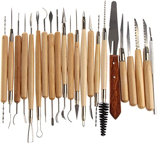 22pcs//set Stainless Steel and Wooden Handle Clay Pottery Sculpture Tool
