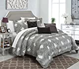 120 quilt backing - Chic Home 6 Piece Fiorella New Luxury Jacquard Collection Comforter Set, King, Grey