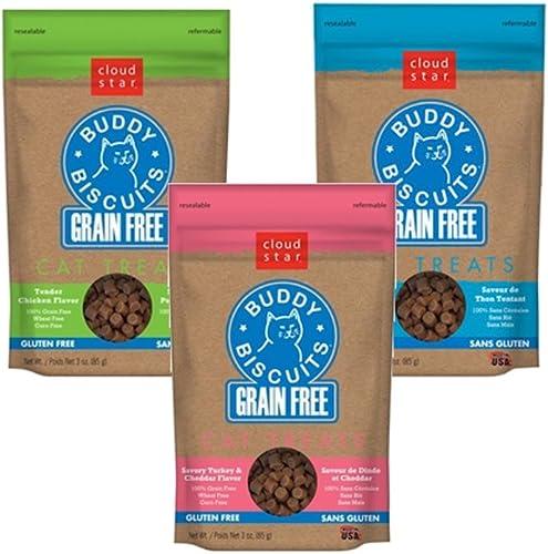 Cloud Star Soft Chewy Grain Free Premium Cat Treat Bundle – Tempting Tuna, Turkey and Cheddar, Chicken