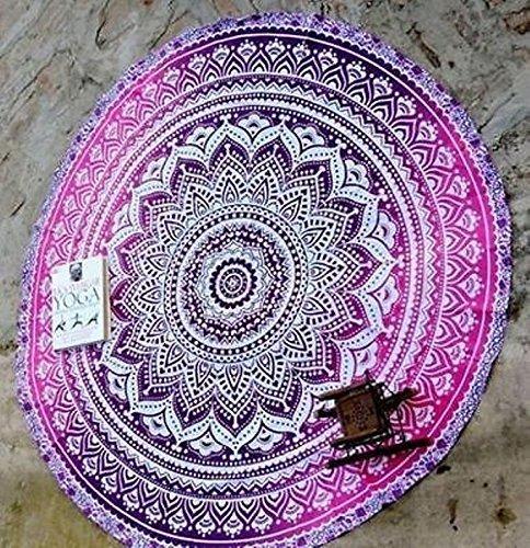 Krati Exports - Alfombra redonda para yoga, diseño indio de mandala, manta, tapiz, jipi, bohemio, gitano, de algodón