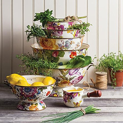 MacKenzie-Childs Flower Market Everything Bowl - Decorative Brass Handles - Multicolor - Floral Print - 13'' dia, 16.5'' wide, 6.75'' tall, 26 cup capacity