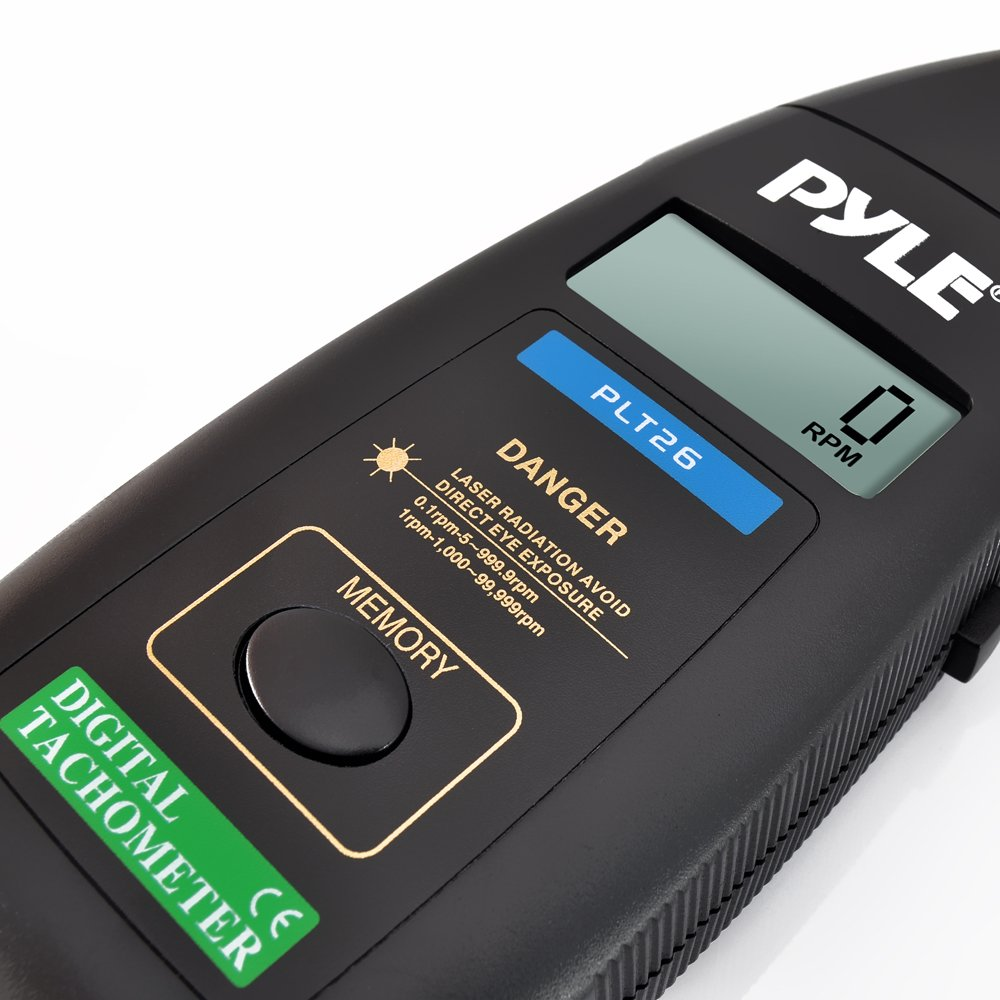 99999 RPM Range and Carrying Case PYLE-METERS PLT26 Digital Non Contact Laser Tachometer with LCD Display