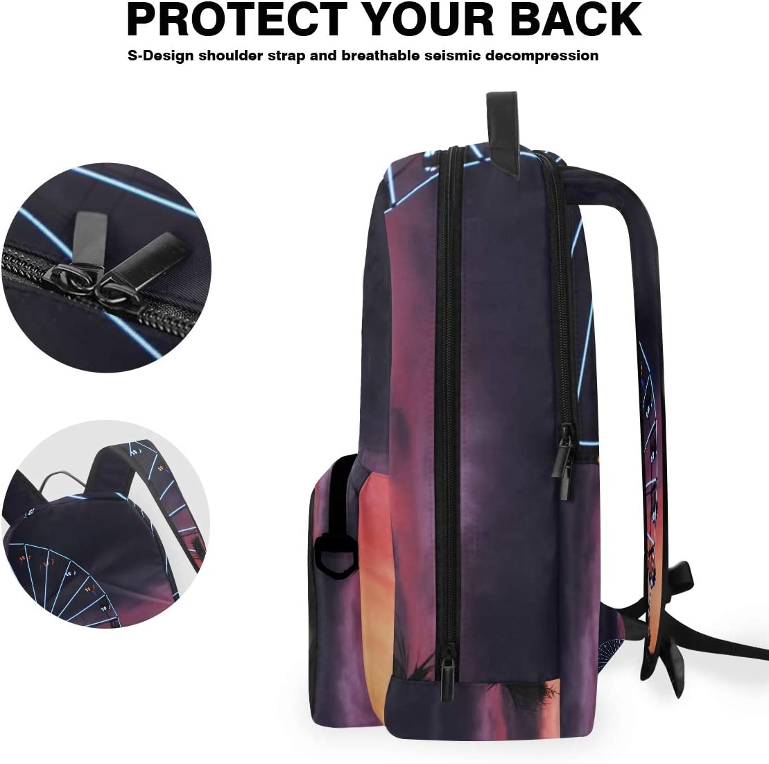 Stylish Laptop Backpack Travel Backpack with Removable Sling Bag Lit-Up Ferris Wheel