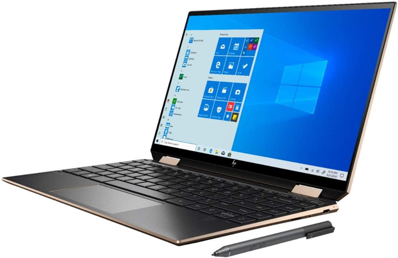 "HP Spectre X360 2020 GEM Cut 13.3"" FHD Touch Laptop, Intel i7-1065G7, 16GB RAM, 512GB SSD, Bang & Olufsen, Fingerprint Reader, HP Stylus, Nightfall Black, Win 10 Pro, 64GB TechWarehouse Flash Drive"
