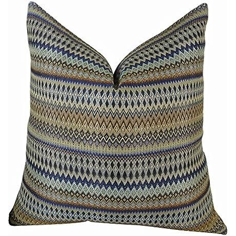 Plutus Brands Plutus Zigzag Along Indigo Handmade Throw Pillow 20 X 30 Queen Navy Blue Taupe