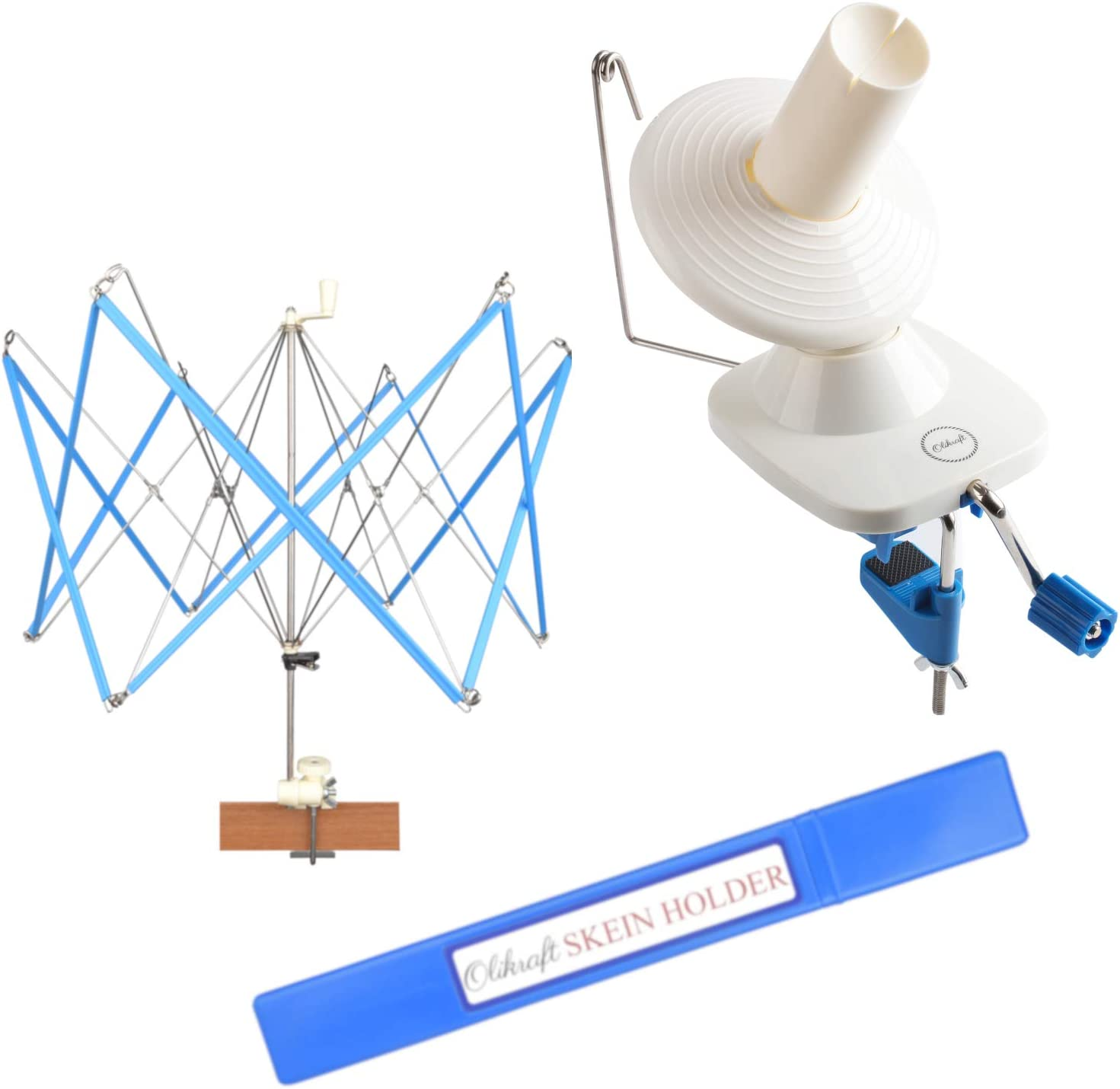 Yarn Swift-Best for Both Experts and Beginners: Yarn Ball Winder and Umbrella Swift (with Skein Holder) Basic Combo Set