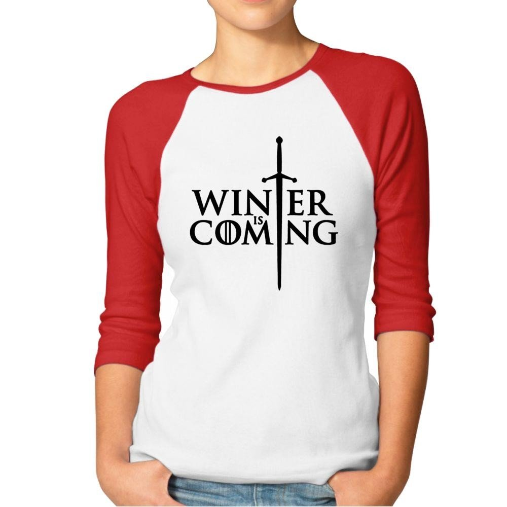 Winter Is Coming Women 3/4 Sleeves Baseball Raglan Athletic Jersey T-shirt-T-Shirt