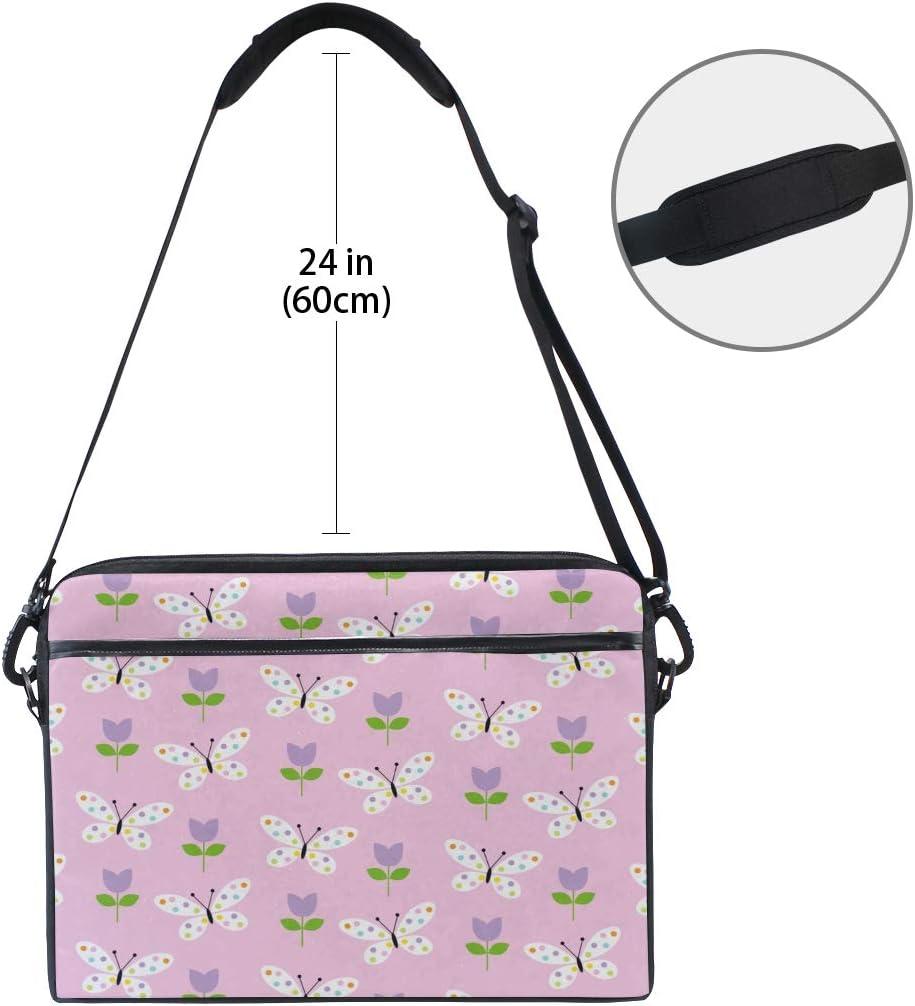 Briefcase Messenger Shoulder Bag for Men Women Laptop Bag Butterflies Tulips 15-15.4 Inch Laptop Case College Students Business People Office Workers