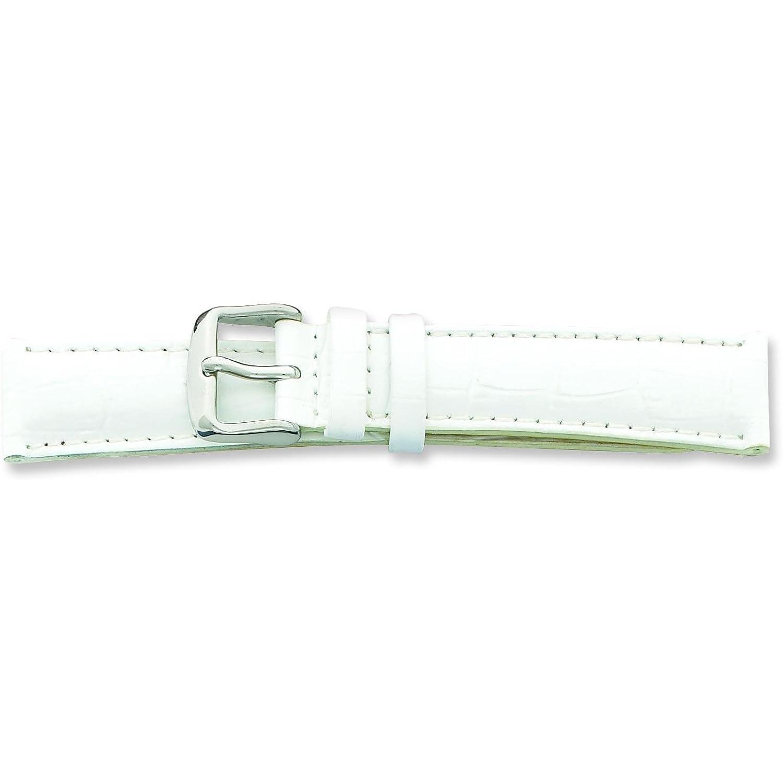 De beerホワイトCrocodile Grainレザー腕時計バンド24 mm  B003ZFCQTA