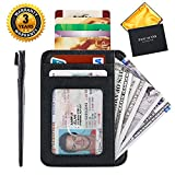 #1: Slim RFID Wallet Front Pocket Small Leather Card Holder Case Mini Thin Money Clip for Men Women