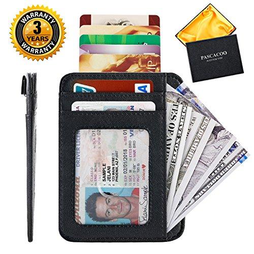 Card Case Mini Wallet - Slim RFID Wallet Front Pocket Small Leather Card Holder Case Mini Thin Money Clip for Men Women (Black)