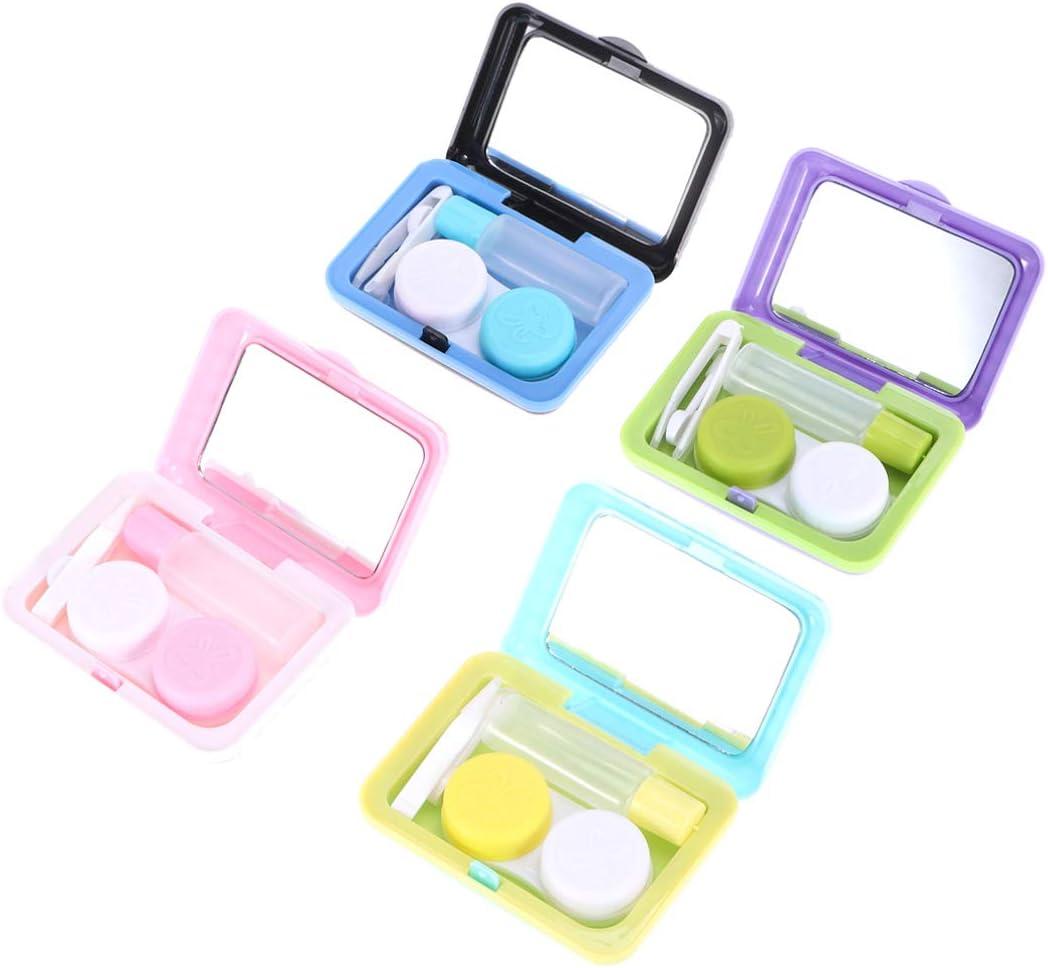 SUPVOX 4 Piezas Cajas de Lentes de Contacto de Viaje Cajas de lentillas Portátil en Forma de Maleta con Pinza Aplicador Palo Botella de Solución (Morado Negro Azul Rosado)