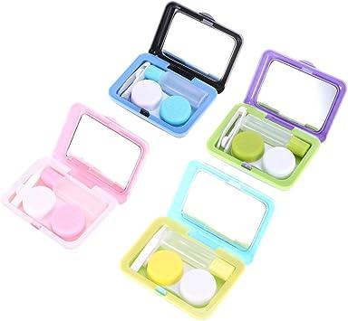 SUPVOX 4 Piezas Cajas de Lentes de Contacto de Viaje Cajas de lentillas Portátil en Forma de Maleta con Pinza Aplicador Palo Botella de Solución (Morado Negro Azul Rosado): Amazon.es: Salud y