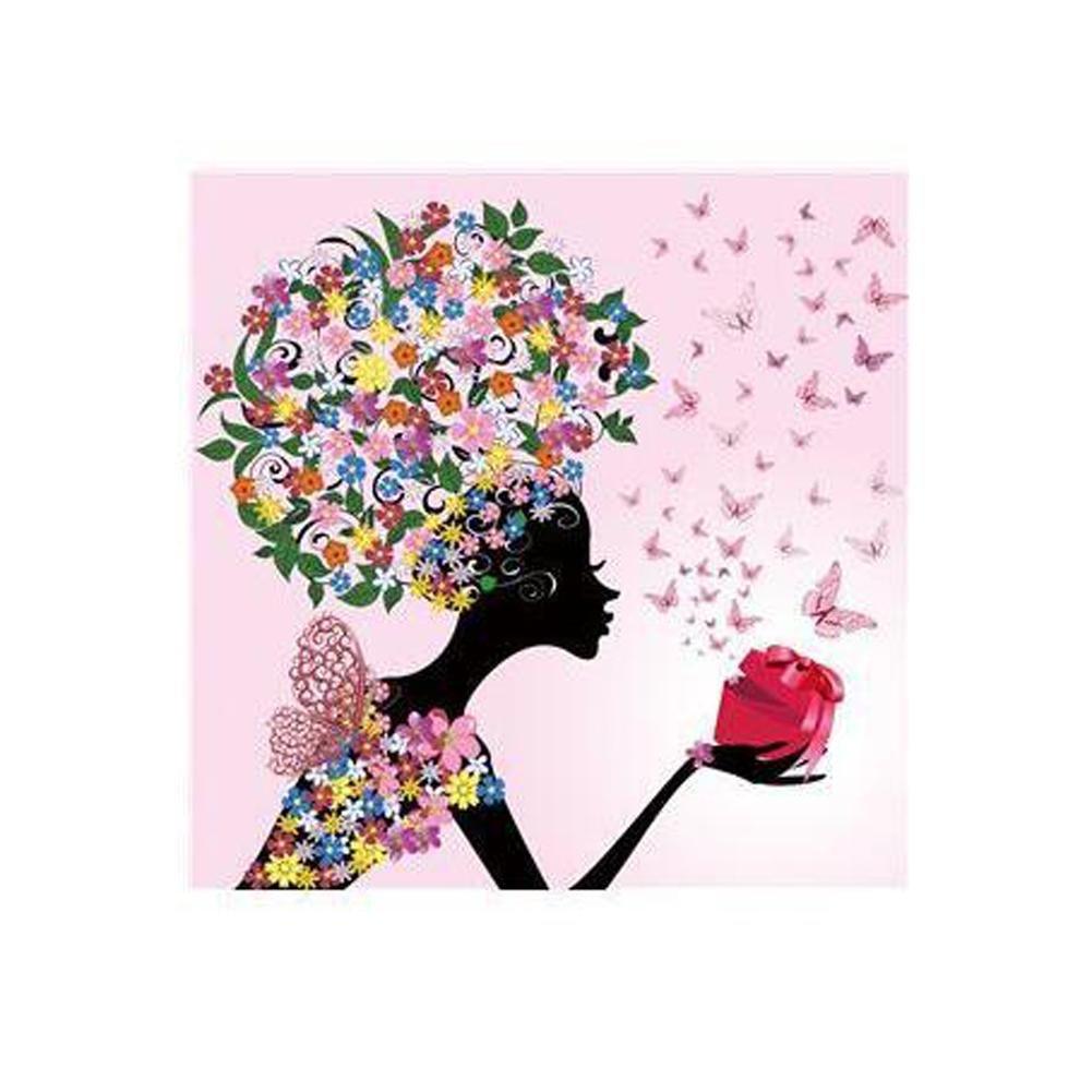 Filles - Tableaux pour la Mur 10 MINRAN DECOR a1 Image sur Toile D75121-2 Art Print prete a Suspendre 20X20cm Elfes des Fleurs Motif Moderne D/écoration