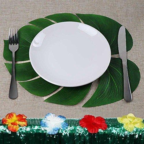 Urbanviva 36pcs Large Artificial Tropical Palm Leaves for Hawaiian Luau Party Jungle Beach Theme Decorations,Table Decoration Accessories (36)