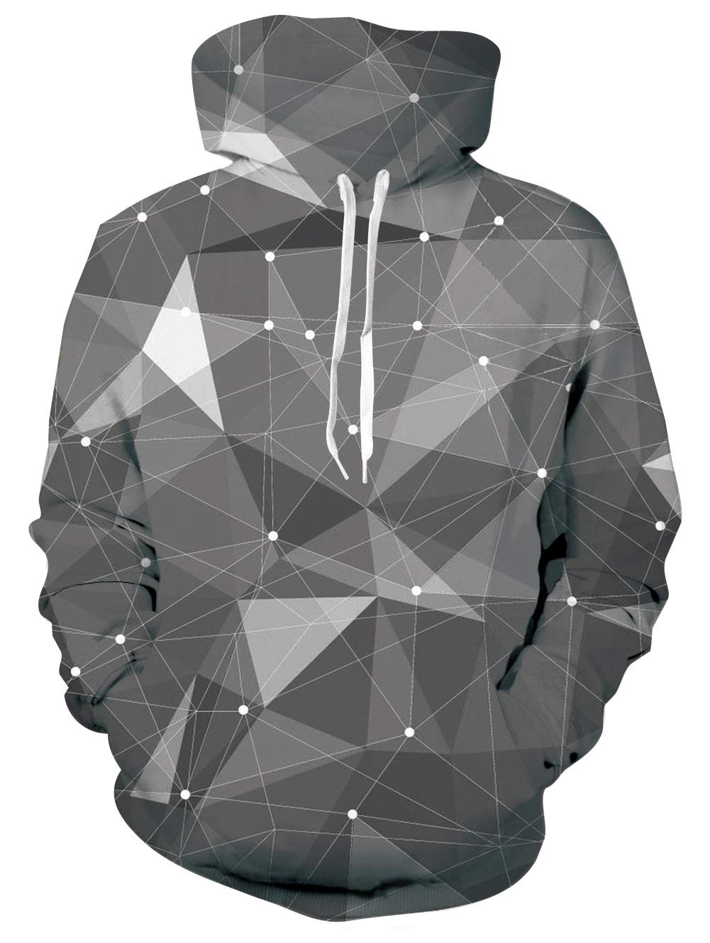 Men Women Grey Diamond Drawstring Hoodie Big Front Pouch All Over Printed Dot Multi-Line Athletic Sweatshirt Ins Cute Lucky Pullover Clothes for Spring Fall Winter (Multi-Line,S/M)