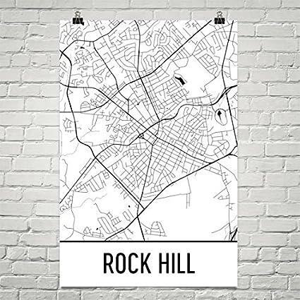 Rock Hill Sc Map Amazon.com: Modern Map Art Rock Hill Map, Rock Hill SC Art, Rock  Rock Hill Sc Map