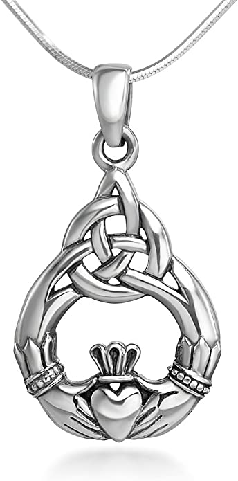 Personalize Irish Claddagh Necklace Love Loyalty /& Friendship Necklace-SP278 Sterling Silver Claddagh Necklace Claddagh Necklace