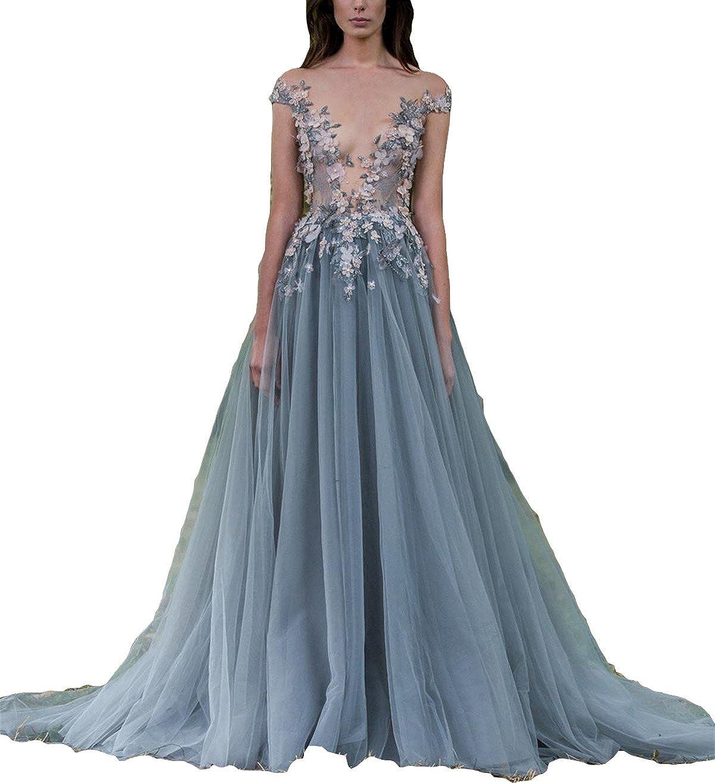 Deep V Neck Evening Dress