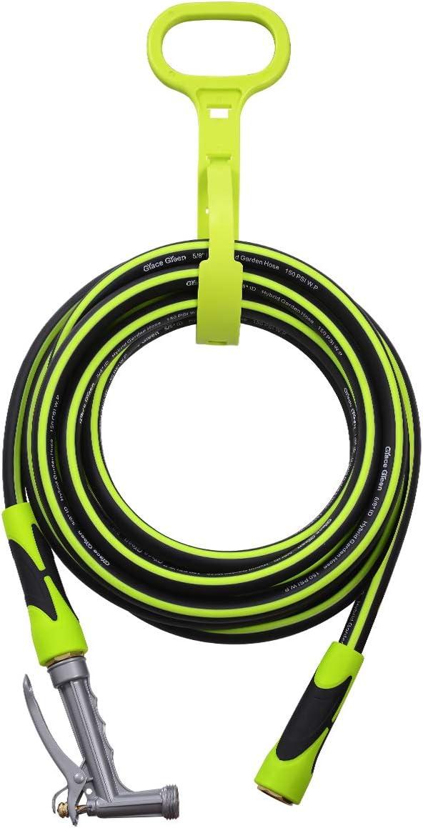 Grace Green Garden Hose,Hybrid 5/8 in.×25FT Water Hose, Both End SwivelGrip, Heavy Duty, Light Weight, Flexible