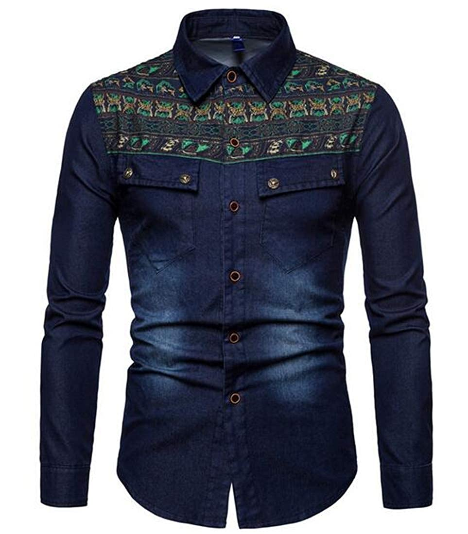 CRYYU Men Casual Embroidery Jean Flap Pockets Long Sleeve Western Button Down Shirt