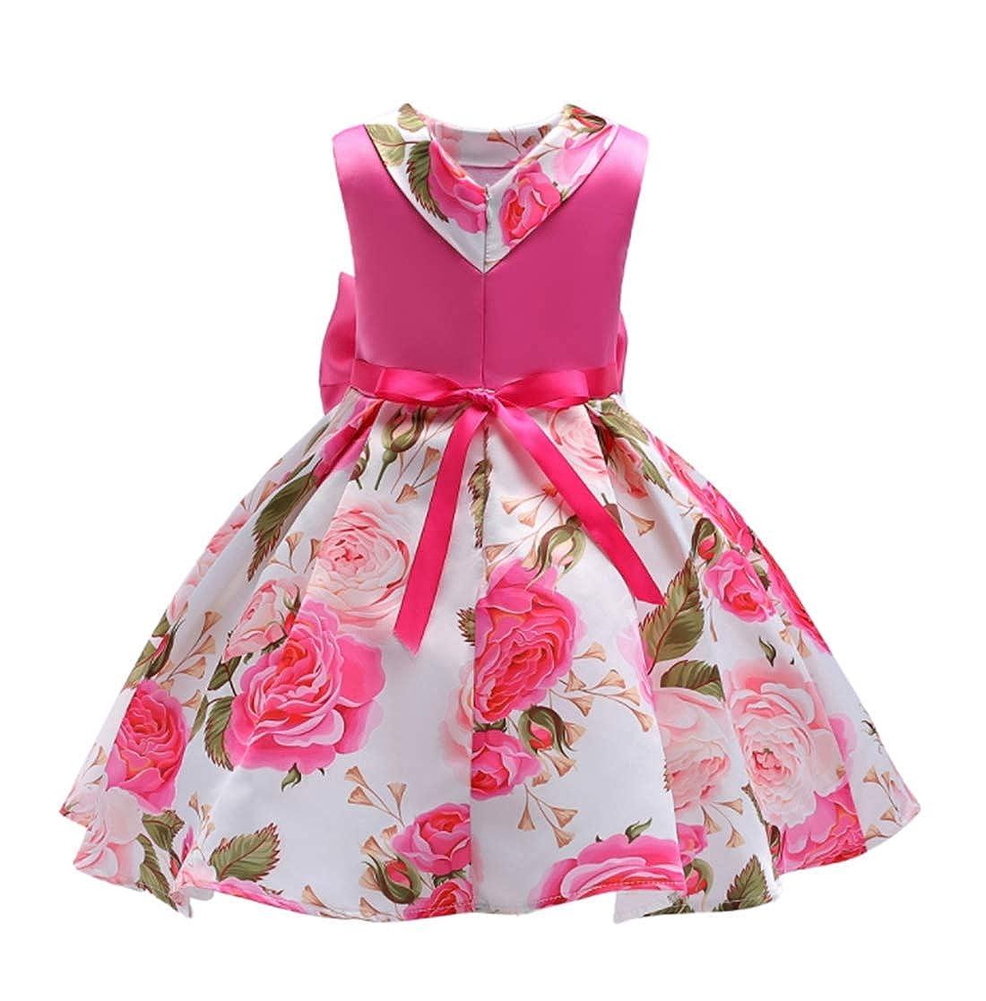ADHS Girl Dresses for Girls Kids Flower Tutu Holiday Wedding Princess Dresses