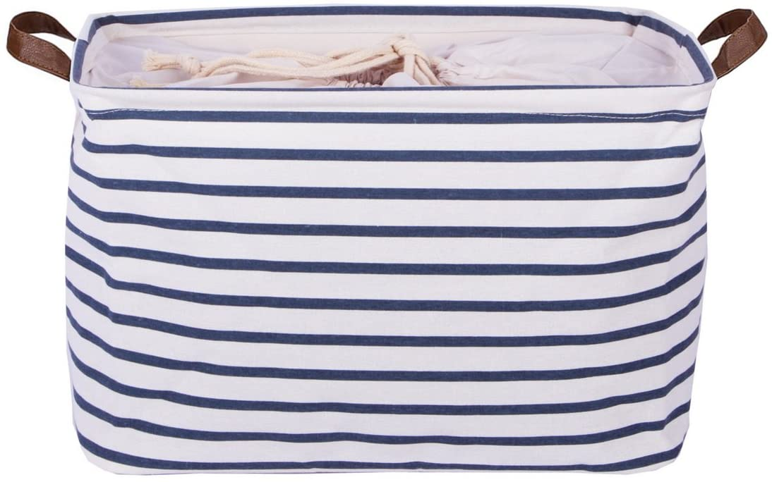DOKEHOM 15-Inches Large Storage Basket (Available 15 and 17 InchesWidth), Drawstring Square Cotton Linen Collapsible Toy Basket (Blue Strips, M)