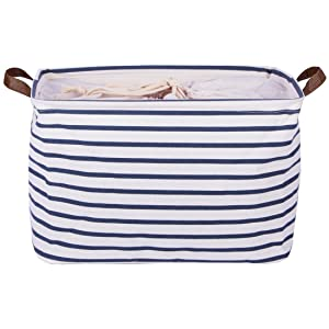 DOKEHOM 17-Inches Large Storage Basket (Available 15 and 17 InchesWidth), Drawstring Square Cotton Linen Collapsible Toy Basket (Blue Strips, L)