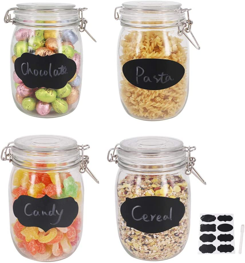 BPFY 4 Pack 32 oz Wide Mouth Mason Jars with Hinged Lids, Glass Jars with Airtight Lids and Rubber Seal for Food Storage, Cereal, Pasta, Sugar, Beans, Kitchen Canisters, 8 Chalk Labels, 1 Pen
