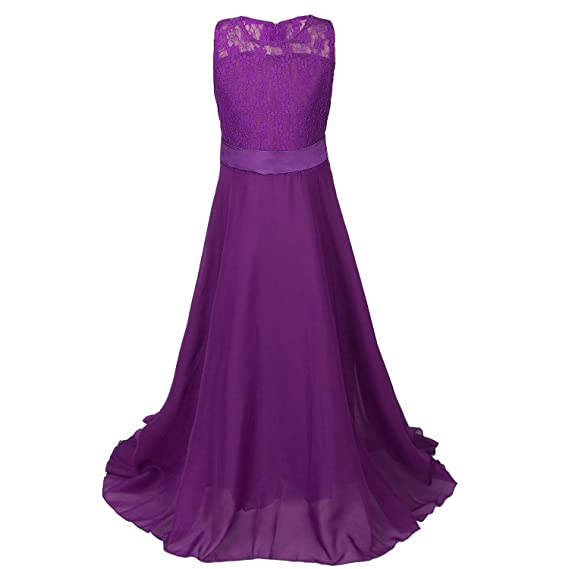 dbe0c28ca41fe Discoball fille mousseline Fleurs Fond longue robe - Violet - 8-9 ...