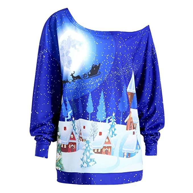 tloowy plus size christmas tops women fashion xmas off shoulder long sleeve sweatshirt pullover