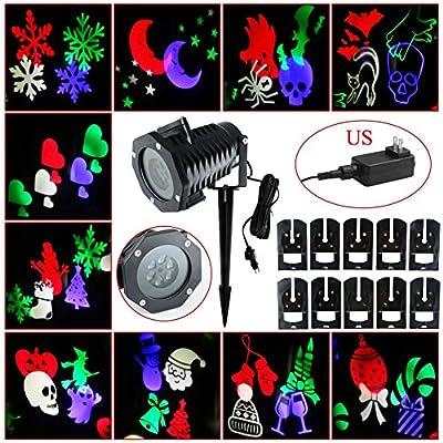Your Supermart Auto Rotating LED Light Landscape Projector Lamp Christmas Decoration US Plug