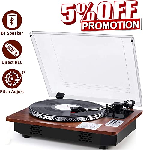 Record Player with Speakers Turntable for Vinyl Records Bluetooth in Out USB Direct Vinyl to MP3 Recording Professional LP Vintage Record Player