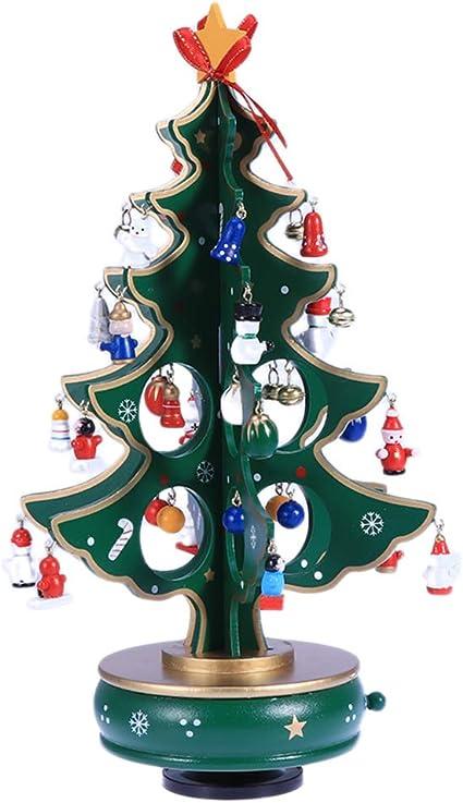 Boîte de 22 Mini en Bois Arbre de Noël Suspendu Décoration Ornements
