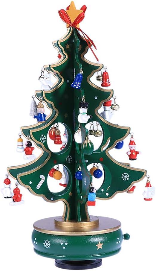 BESTOYARD Caja de Música del Árbol de Navidad de Madera para Decoración de Navidad de Escritorio (Verde: Amazon.es: Hogar