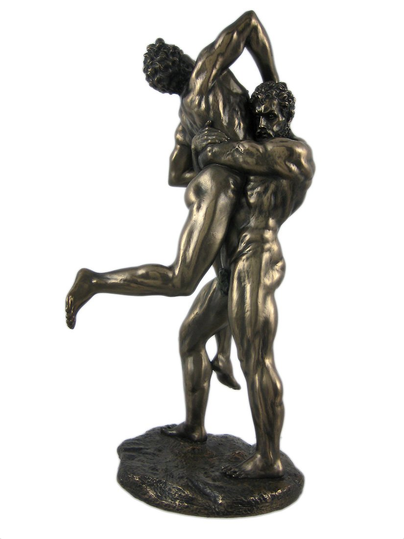 US 10.75 Inch Greek Replica Figurine Hercules and Antaeus Display Decor