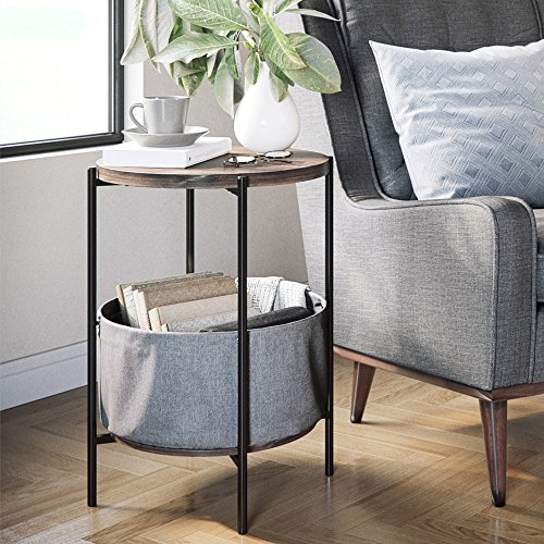 Nathan James 32201 Oraa Round Wood Side Table with Storage, Nutmeg ()