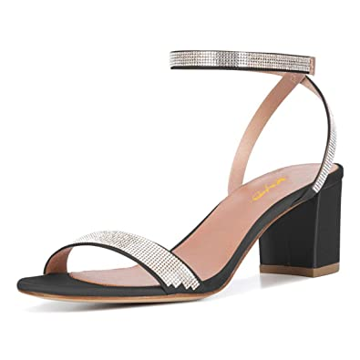 cafbd1fe6d Amazon.com | XYD Women Open Toe Strappy Mid Block Heel Sandals Rhinestone  Ankle Strap Slingback Wedding Party Dress Shoes | Sandals
