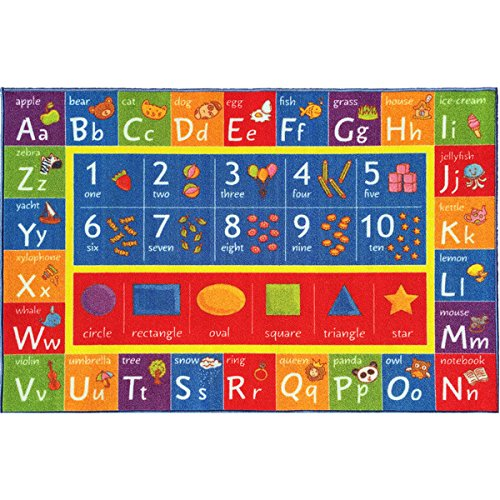 KC Cubs Playtime Collection ABC, Numbers, and Shapes Multicolor Polypropylene Educational Area Rug (5'0 x 6'6) by KC Cubs