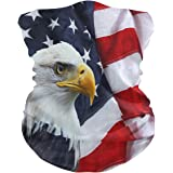 Unimagic Updated Face Mask USA Flag Bald Eagle Bandana Women Men Neck Gaiter Headband Head Scarf Balaclavas Face Scarf with Filter Pocket