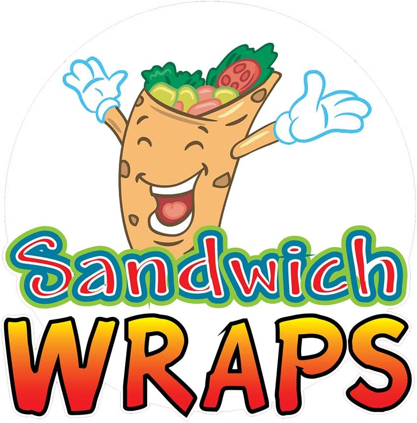 Food Truck Decals Sandwich Wraps Concession Restaurant Die-Cut Vinyl Sticker A & Sign 14 in on Longest Side