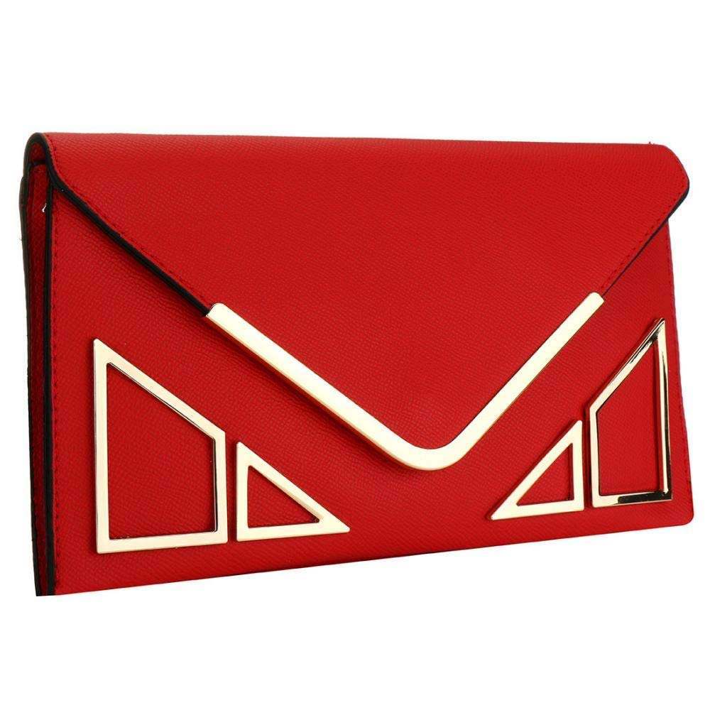 KNUS Womens Envelope Clutch Wallet Designer Evening bag Crossbody Purse with Leather Strap (Red)