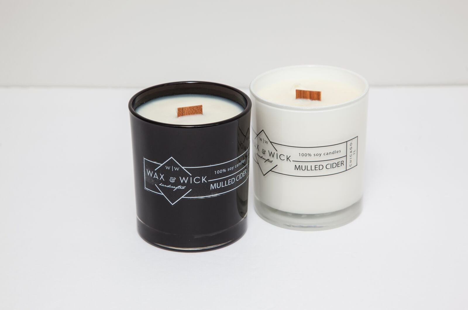Scented Soy Candle: 100% Pure Soy Wax with Wood Double Wick | Burns Cleanly up to 60 Hrs | Mulled Cider Scent - Notes of Apple, Nutmeg, Vanilla, Caramel. | 12 oz Black Jar by Wax and Wick by Wax & Wick (Image #3)