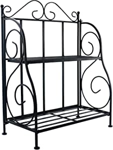 Sunnyglade Spice Rack, 2-Tier Foldable Shelf Rack Kitchen Bathroom Countertop, 2-Tier Standing Storage Organizer Spice Jars Bottle Shelf Holder Rack -Black
