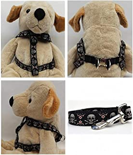 "product image for Diva-Dog 'Billy Bones' Custom 5/8"" Wide Dog Step-in Harness with Plain or Engraved Buckle, Matching Leash Available - Teacup, XS/S"