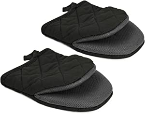 AMAZINGCATS Oven Mitts Silicone Trivet for Kitchen Cooking,2 Pack Little Oven Gloves Pot Holder for Cooking - Heat Resistant, Non-Slip Grip, Hanging Loop, Black