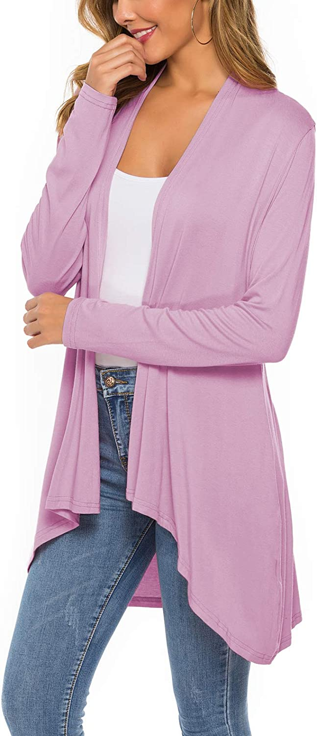 Womens Casual Long Sleeve Open Front Lightweight Drape Cardigans with Pockets