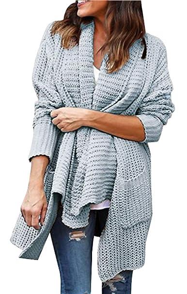 el mejor fecha de lanzamiento: diseños atractivos Chaqueta Punto Mujer Sweater Cardigan Abierta Rebecas Señora ...